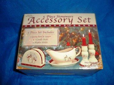 CLEARANCE-  Royal Seasons Holiday Snowman Stoneware Table Accessory Set