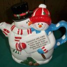 CLEARANCE-  Adorable Ceramic Snowman Couple Coco Pot