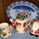 CLEARANCE-  Ceramic Holiday Tea/Coffee Set with Tray