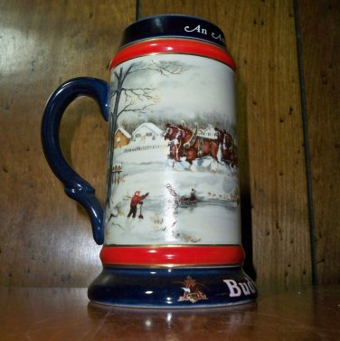 """CLEARANCE!! Budweiser """"An American Tradition""""  1990 Holiday Stein - CS112"""