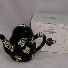 Collectable Black Ceramic Beehive Teapot