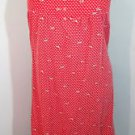 Vintage Sears Dress Red and White with Tiny Sailboats  Size = Medium