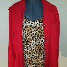 Sag Harbor Layered Shirt Set Red with Animal Print Size = 18