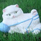 Vintage Ceramic White Persian Kitten Cat Statue