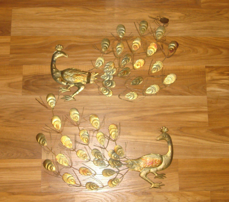 Vintage Set of Gold Tin Metal Peacock Wall Hangings