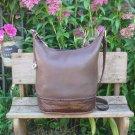 Vintage Brighton Brown Leather Cross Body Bucket Bag