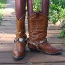 Vintage Brown Leather Stirrup Western Boots~5.5~
