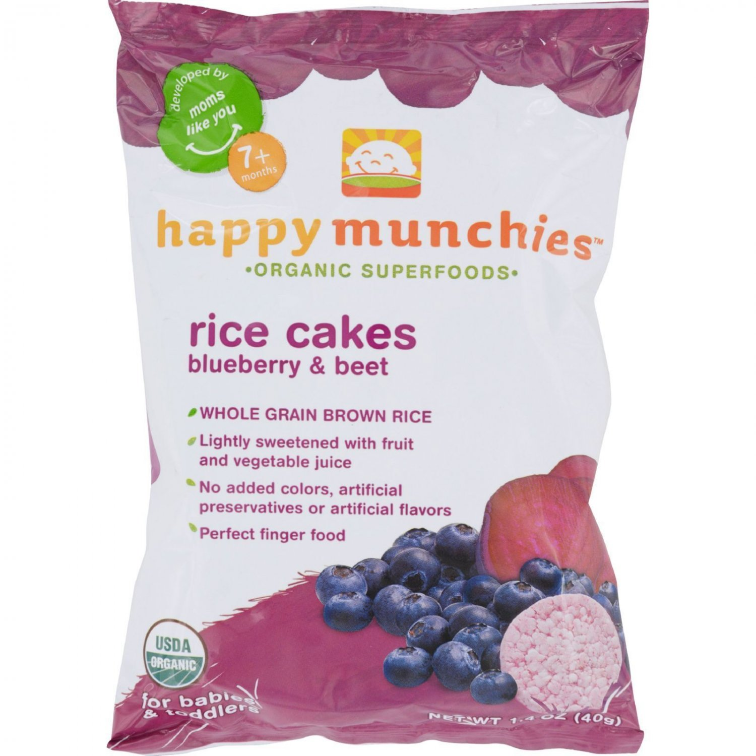 Happy Munchies Rice Cakes - Organic Blueberry and Beet - 1.4 oz - Case of 10