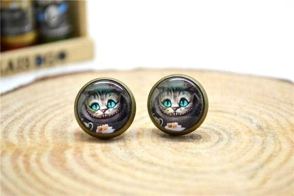 12mm Cat Earrings,Cheshire Cat Jewelry,Alice in wonderland Cat Stud Glass Dome Earring
