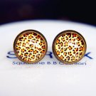10mm Leopard Print Earrings Glass Dome Earrings Classic Leopard Studs Earrings