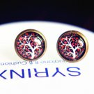 10mm Tree of Life Studs Earrings Tree Earrings Glass Dome Earring Glass Cabochon Stud