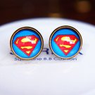 12mm Superman Earrings Glass Dome Earrings Dark Blue Super Hero Studs Earrings