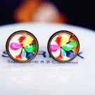 10mm Windmill Earrings Glass Dome Earrings Pinwheel Studs Earrings E10b