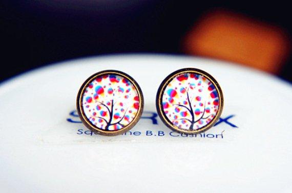 Tree of Life Studs Earrings Tree Earrings Glass Dome Earring Glass Cabochon Stud