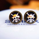 10mm Pirate Skull Earrings Glass Dome Earrings Head Crossbone Luffy Studs Earrings