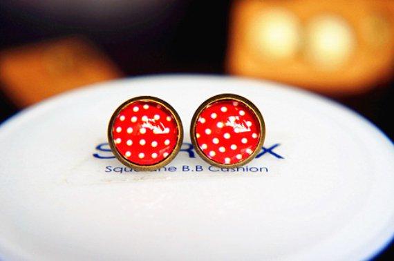 10mm Polka Dot Stud Earrings Handmade Glass Dome Earring Red Stud Earrings