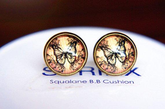 12mm Vintage Butterflies Earring Glass Dome Fly Butterfly Photo Stud Earring