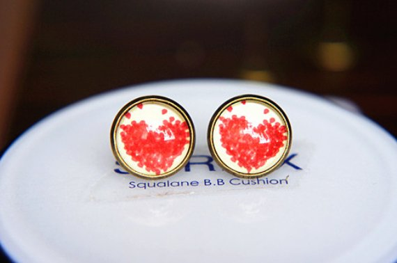 12mm Heart Stud Earrings Red Heart Earrings Glass Dome Stud Earring Birthday Gift