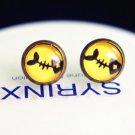 10mm Fish Stud Earrings Glass Dome Earring Fish Bone Stud Earrings