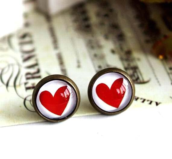 10mm Heart Stud Earrings Red Heart Earrings Glass Dome Stud Earring Valentine's gift