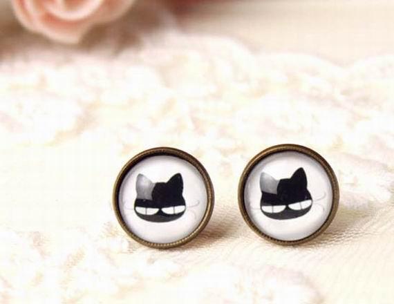 10mm Black Cat Earrings Glass Dome Earring Black Cat Stud Post Earrings