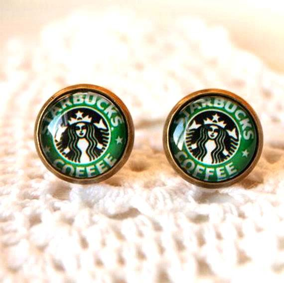 10mm Starbucks Earrings Glass Dome Earrings StarBucks Coffee Studs Earrings Glass Cabochon Earring
