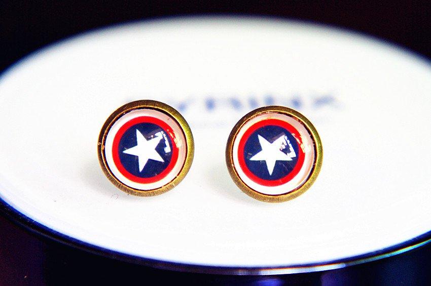 Captain America Earrings Glass Dome Earrings Captain America Studs Earrings Glass