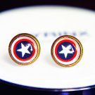 Captain America Earrings Glass Dome Earrings Captain America Studs Earrings Glass