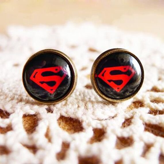 10mm Superman Earrings Glass Cabochon Earrings Dark Black Super Hero Studs Earrings