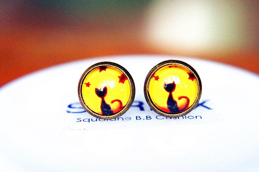 Cat Earrings Glass Dome Earring Black Cat Stud Earrings,Black Cat Post Earrings