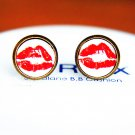 10mm Red Kiss Lips Earrings Lips Earrings Glass Dome Earrings Lipstick Kiss Earrings