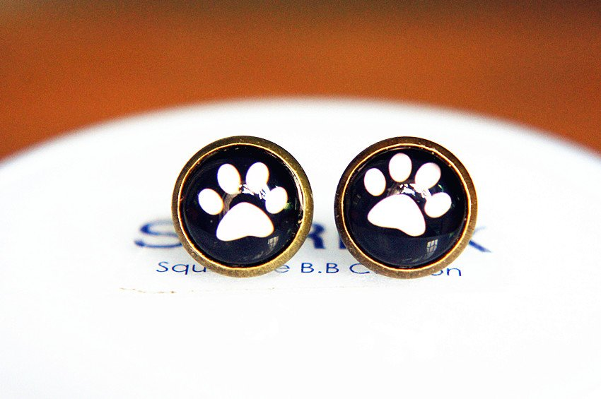 10mm Paw Earrings Glass Dome Earrings Pink Paw Earrings Animal Paw Studs