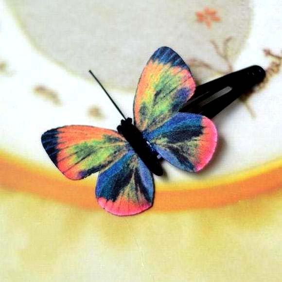 Butterfly Hair Clips Silk Butterfly Bobbypin Wedding Hairpin Butterflies Hair Accessories (1 piece)
