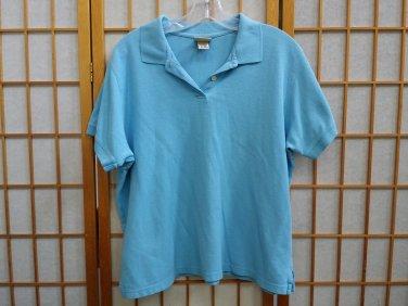 LL BEAN Aqua Blue POLO Shirt womens Size - xL Reg
