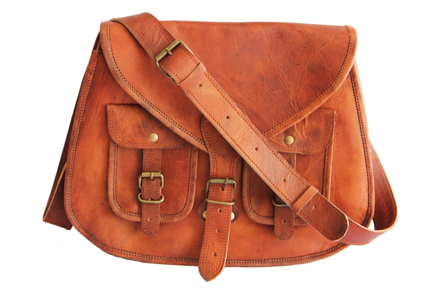 14 Inches Rugged- Chic Distressed Leather Women Sling Bag