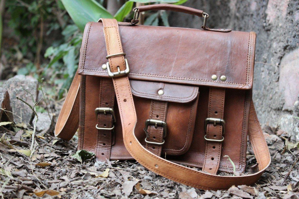 Leather Messenger Satchel Genuine Real Leather Messenger Laptop Briefcase Satchel Mens Bag