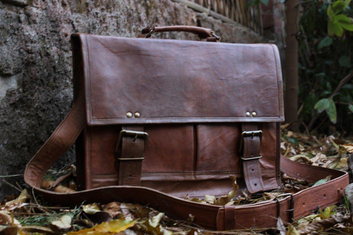 Vintage Leather Laptop Bag Messenger Handmade Briefcase Crossbody Shoulder Bag