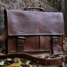 Vintage Leather Laptop Bag Messenger Handmade Briefcase Crossbody Shoulder Bag