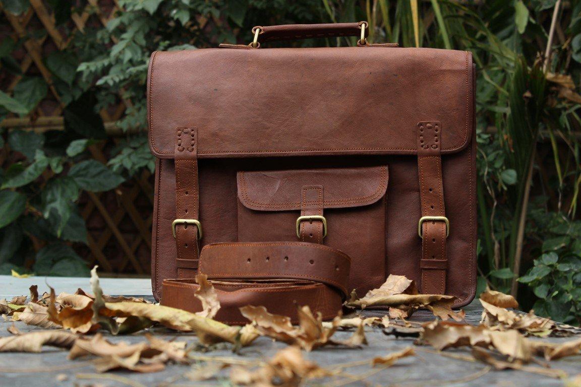 Leather 15 Inch Dual Pocket Vintage Look Leather Laptop Messenger Briefcase Satchel Bag