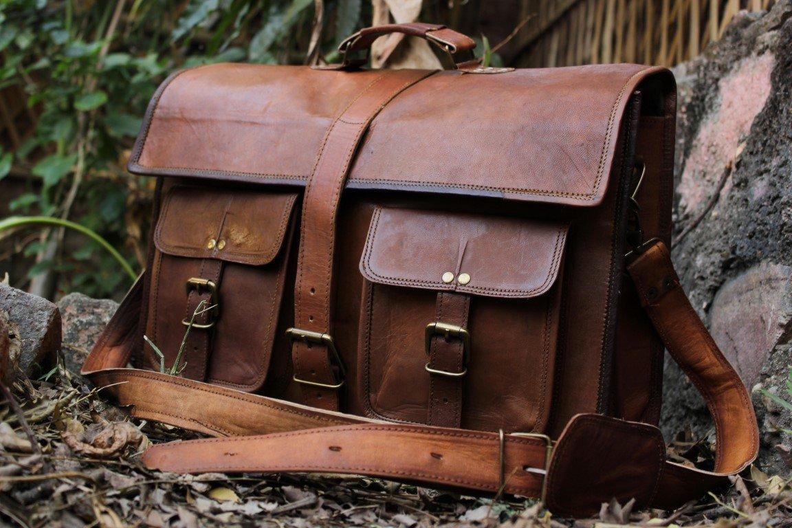 Classic Adult Unisex Cross Shoulder 100% Genuine Leather Messenger/Laptop/Briefcase/Bag Satchel