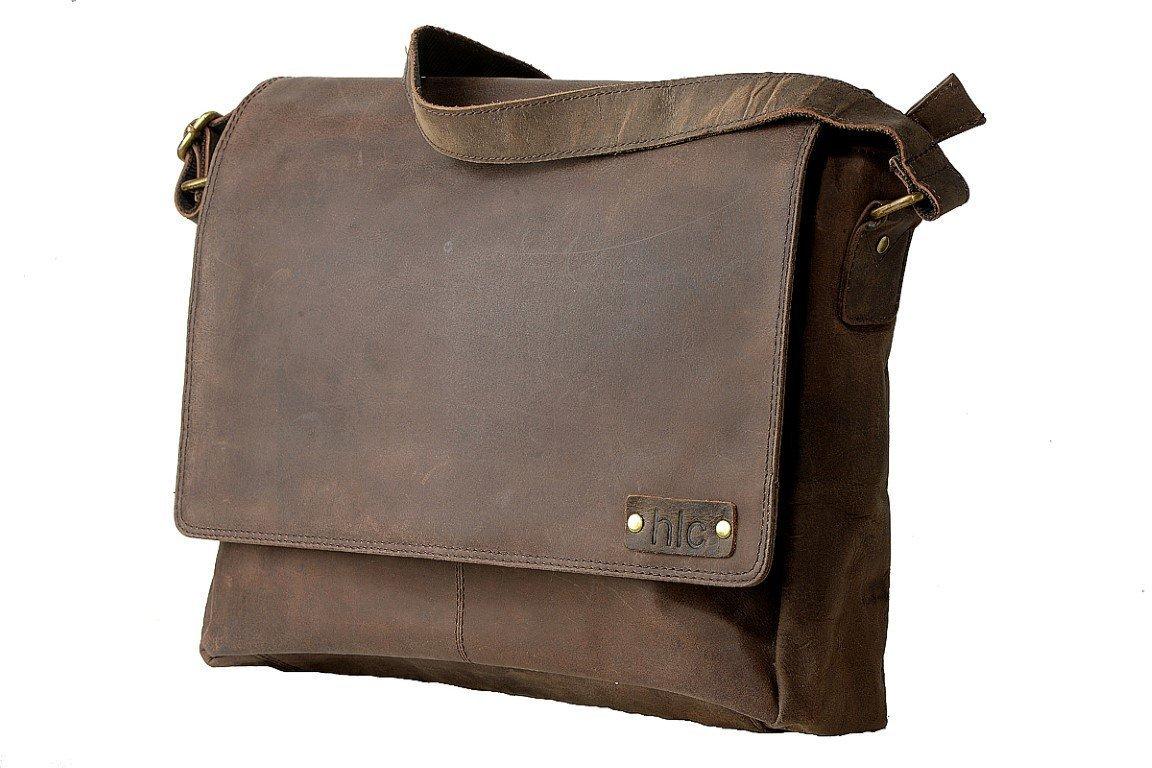 Leather Messenger/Satchel Men's Bag Unisex Shoulder Bag for Laptop