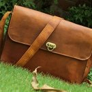 Leather Unisex 100% Genuine Auth Real Leather Messenger Bag for Laptop Briefcase Satchel