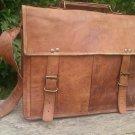 Real Goat Leather Satchel Messenger Bag laptop breifcase
