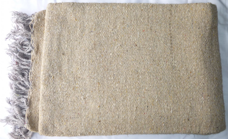 Southwestern Mexican Large serape blanket pilates blanket Solid Natural Color