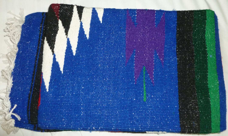 Southwestern Mexican Large serape blanket pilates blanket multi color Blue Green mix