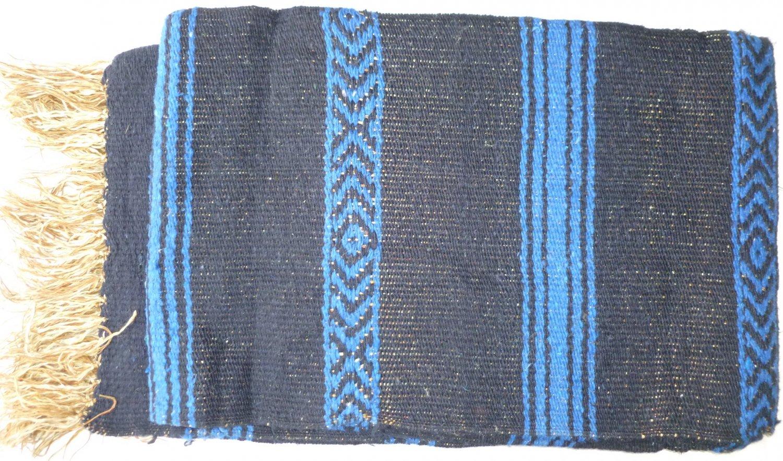 Southwestern Mexican Large serape blanket pilates blanket multi color Deep Blue Pattern