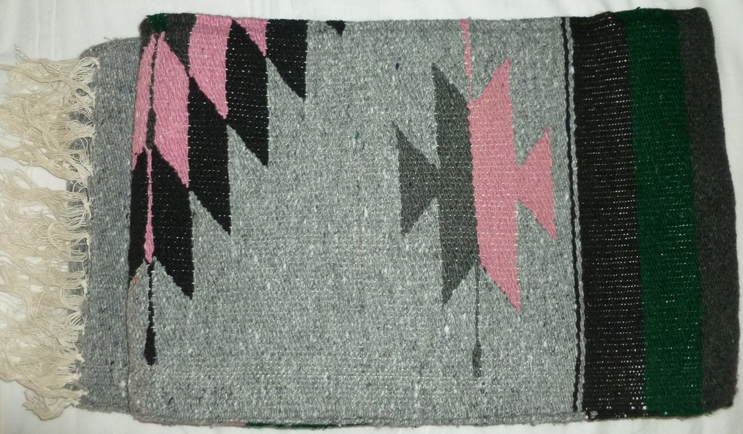 Southwestern Mexican Large serape blanket pilates blanket multi color Pink Gray Pattern