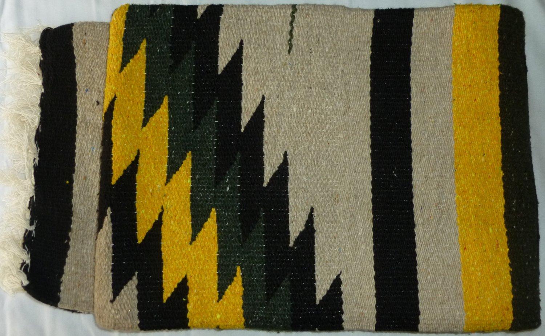 Southwestern Mexican Large serape blanket pilates blanket multi color Yellow Black Pattern