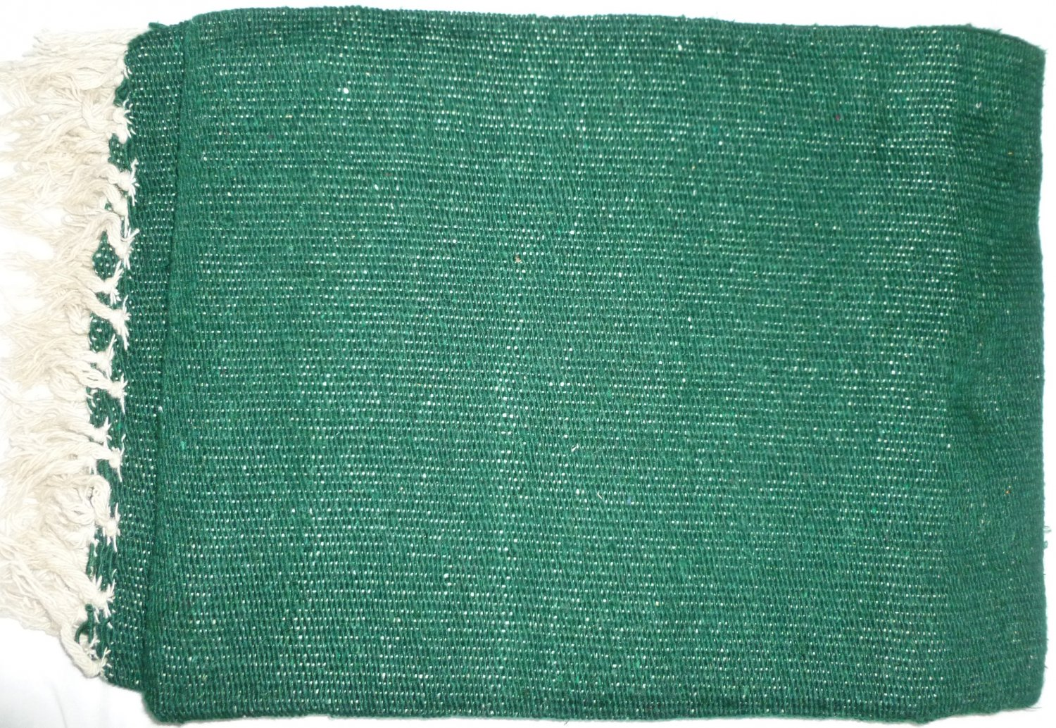 Southwestern Mexican Large serape blanket pilates blanket Solid Irish Green Color