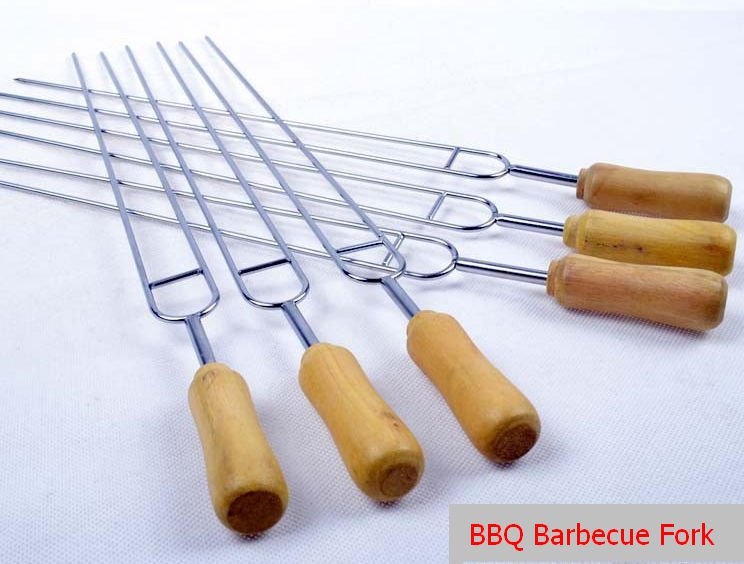 6pc�s Row U BBQ Roast Barbecue Needle Skewers Wooden Handle Stainless Steel Fork